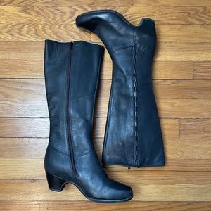 Clarks Cardy Tall Black Leather Riding Boot